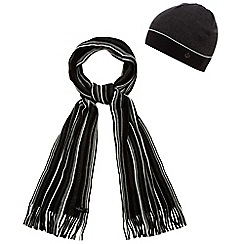 Jeff Banks - Dark grey striped scarf and hat set in a gift box