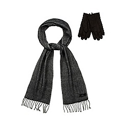 Jeff Banks - Grey herringbone scarf and suedette set