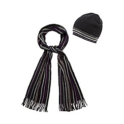 Jeff Banks - Dark grey striped hat and scarf set in a gift box