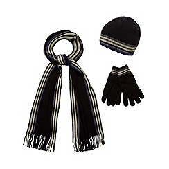 Jeff Banks - Black striped hat, scarf and gloves set