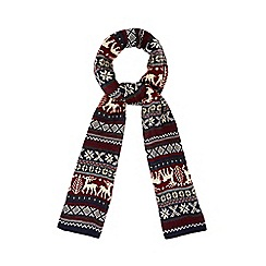 Red Herring - Red Fair Isle reindeer scarf