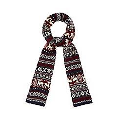 Red Herring - Red Fair Isle reindeer scarf