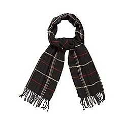 Jeff Banks - Dark grey herringbone checked scarf
