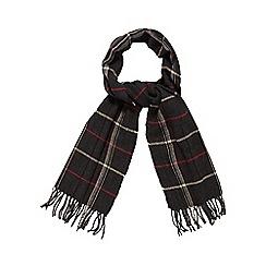 Jeff Banks - Dark grey herringbone checked scarf