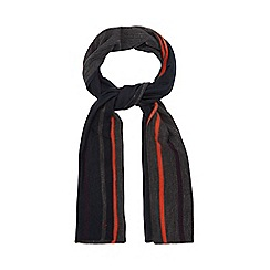 Jeff Banks - Navy striped reversible scarf