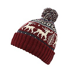 Red Herring - Dark red reindeer Fair Isle bobble hat
