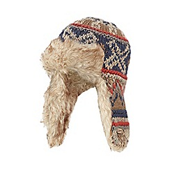 Mantaray - Light brown Fair Isle knit trapper hat