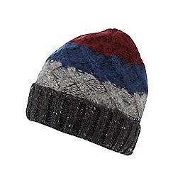 Mantaray - Grey chunky colour block beanie hat