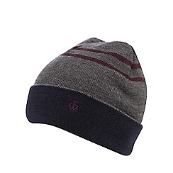 Jeff Banks - Grey twin striped beanie hat