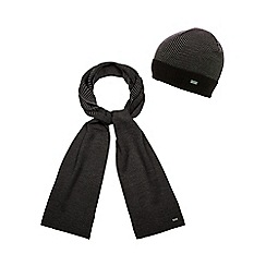 J by Jasper Conran - Black wool blend scarf and hat set in a gift box