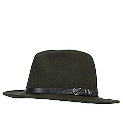 The Collection - Green belted wool fedora hat