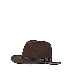 The Collection - Brown belted wool fedora hat