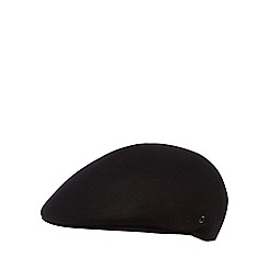 The Collection - Black wool moulded flat cap
