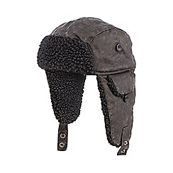 Red Herring - Grey mock waxed trapper hat
