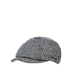 RJR.John Rocha - Grey herringbone Harris Tweed baker boy cap
