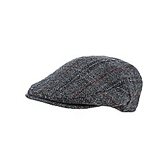 RJR.John Rocha - Grey checked Harris Tweed wool flat cap