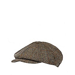RJR.John Rocha - Green herringbone Harris Tweed baker boy cap