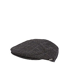 J by Jasper Conran - Grey windowpane checked wool blend flat cap