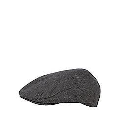 J by Jasper Conran - Dark grey textured herringbone flat cap