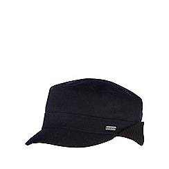 J by Jasper Conran - Black melton ribbed ear flap train driver hat