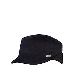 J by Jasper Conran - Black melton ribbed ear flap train driver hat