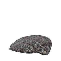 Jeff Banks - Grey dogtooth checked wool blend flat cap