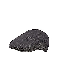Jeff Banks - Grey herringbone striped flat cap
