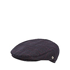 Jeff Banks - Navy checked wool blend flat cap