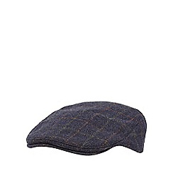 Hammond & Co. by Patrick Grant - Navy windowpane checked wool blend flat cap