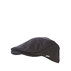 J by Jasper Conran - Dark grey wool blend subtle checked flat cap