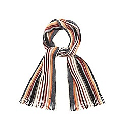 RJR.John Rocha - Dark grey striped brushed wool scarf