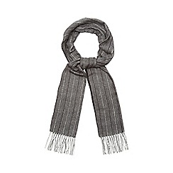 J by Jasper Conran - Dark grey herringbone and pinstripe scarf