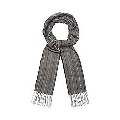 J by Jasper Conran - Dark grey herringbone and pinstripe scarf