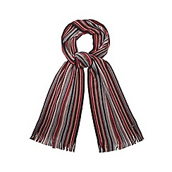 J by Jasper Conran - Red Merino wool fine stripe scarf in a gift box