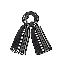 J by Jasper Conran - Grey Merino wool striped scarf in a gift box