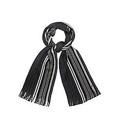 J by Jasper Conran - Grey Merino wool striped scarf in a gift box