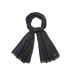 J by Jasper Conran - Dark grey herringbone stripe detail scarf