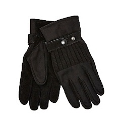 Jeff Banks - Black felt and knit gloves