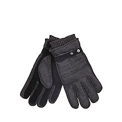 Jeff Banks - Black melton & knit gloves