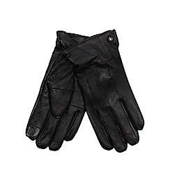 Jeff Banks - Black leather touch screen gloves in a gift box