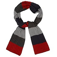 maine new england Red block stripe scarf