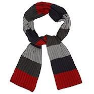 maine new england Red block stripe scarf