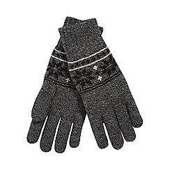 Heat Holders - Grey Fair Isle knit thermal gloves