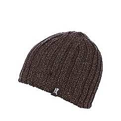 Heat Holders - Brown fleece lined ribbed thermal hat