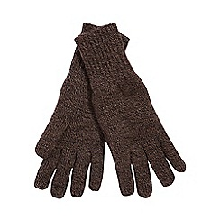 Heat Holders - Brown fleece lined thermal gloves