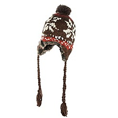 Mantaray - Brown fairisle bobble knitted hat