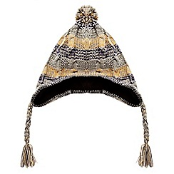 Red Herring - Grey striped cable knit trapper hat