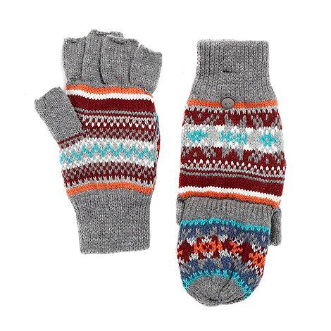 Red Herring - Grey fairisle knitted mitten gloves