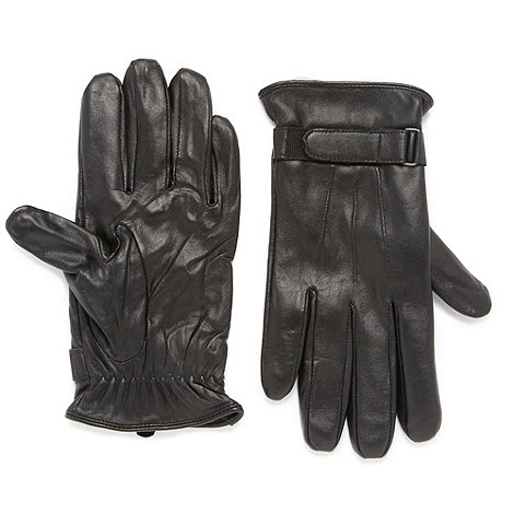Jeff Banks - Designer black leather rip tape strap gloves