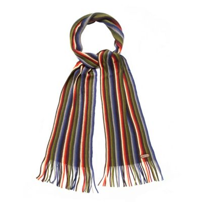 Best Price 1440 Grey multi striped knitted scarf Debenhams Scarves Mens